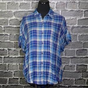 NWT Lucky Brand Slub Soft Summer Blue Flannel